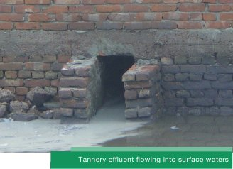 Tannery effluent flowing into surface waters