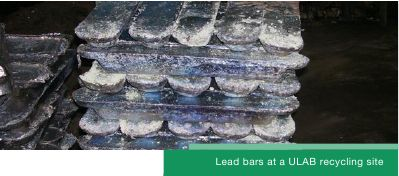 lead bars at a ULAB recycling site