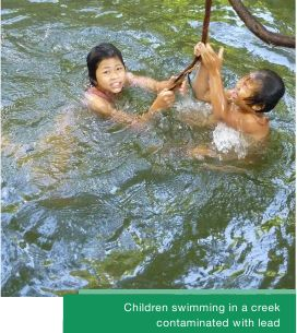 Children Swimming in a creek contaminated with lead