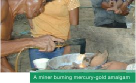 A miner burning mercury-gold amalgam