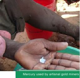 Mercury used by artisanal gold miners