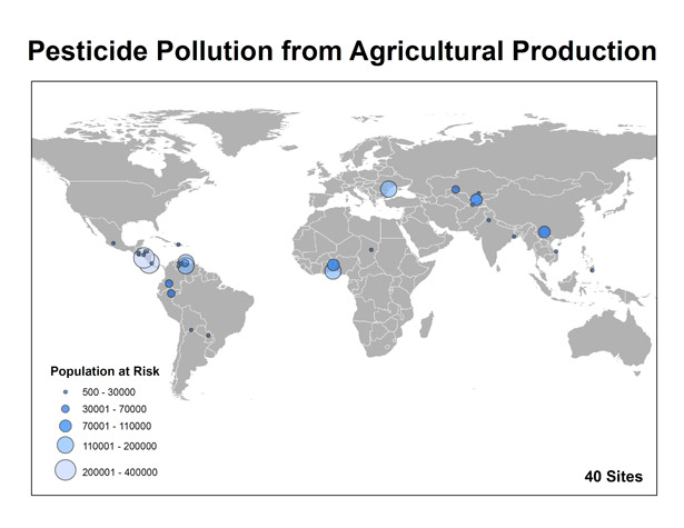 world map shaowing pesticide pollution from agricultural production