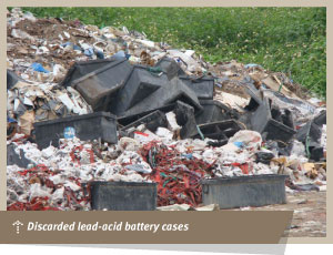 Discarded lead-acid battery cases