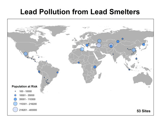 world map for lead smelting pollution