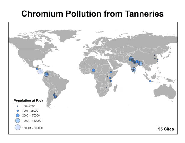 world map of chromium pollution