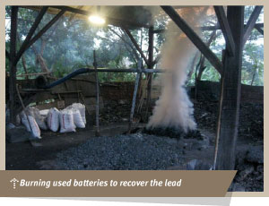 burning used batteries to recover lead